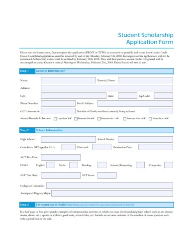 student scholarship application form sample