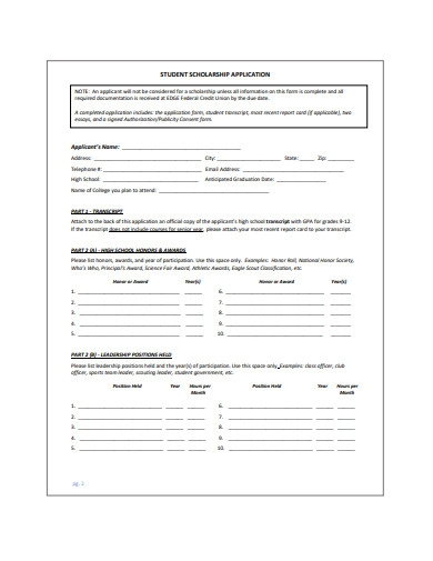 student scholarship application format
