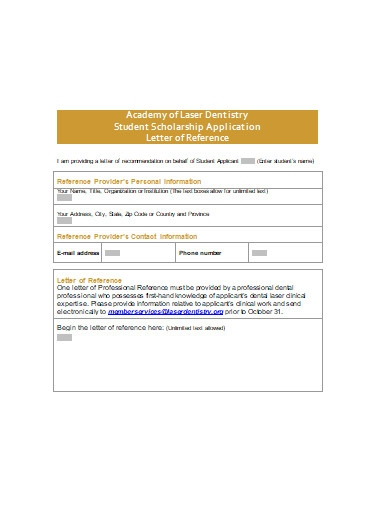 student scholarship application letter of reference