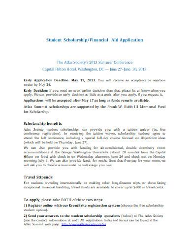 student scholarship application