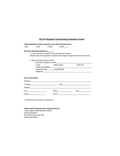 student scholarship donation form