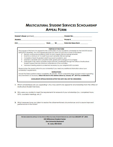 student services scholarship appeal form