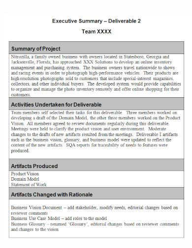 summary of project executive summary