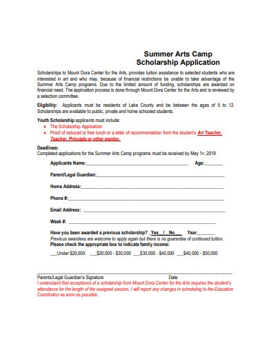 summer arts camp scholarship application