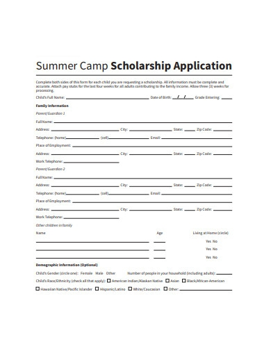 summer camp scholarship application example