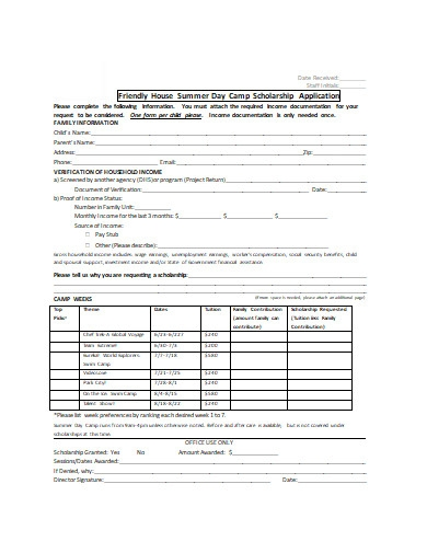 summer day camp scholarship application