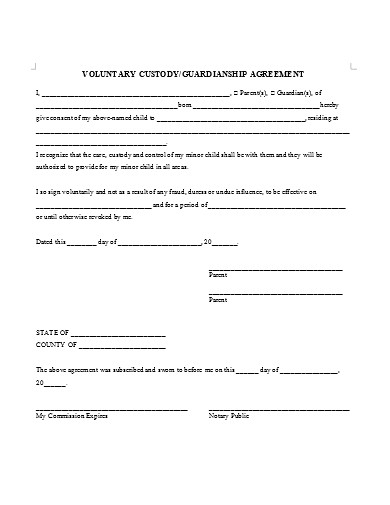 temporary guardianship agreement example
