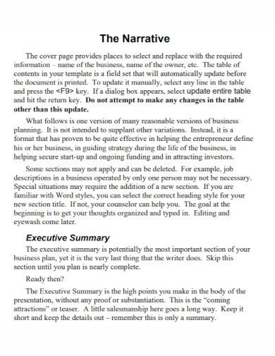 the narrative executive summary