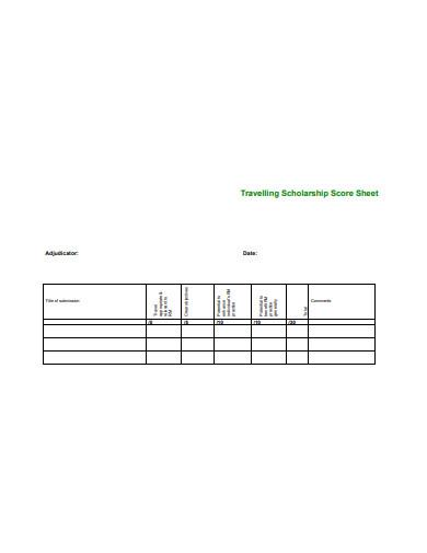 travelling scholarship score sheet