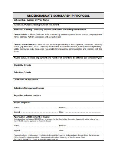 undergraduate scholarship proposal