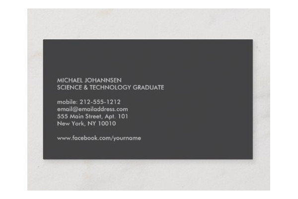 university college student business card