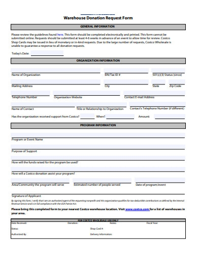 warehouse donation request form