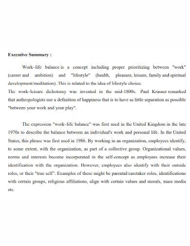 work–life executive summary