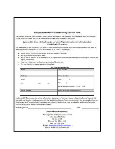 youth scholarship consent form