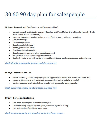 30 60 90 day plan for sales people