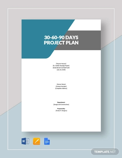 30 60 90 day project plan template