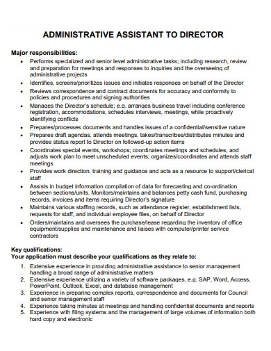 administrative assistant to director cover letter
