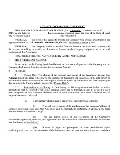 advance investment agreement