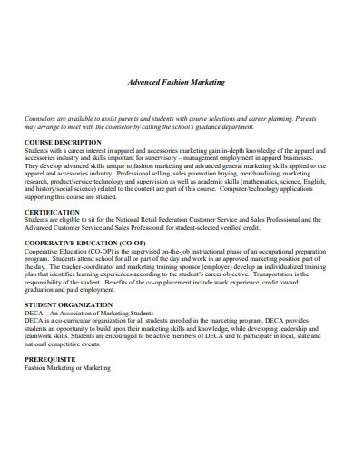 advanced fashion marketing plan