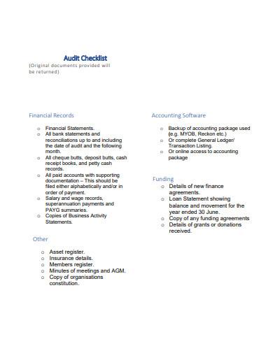 association audit checklist