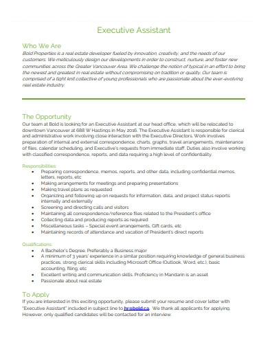 basic executive assistant cover letter