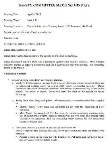 basic safety committee meeting minutes template