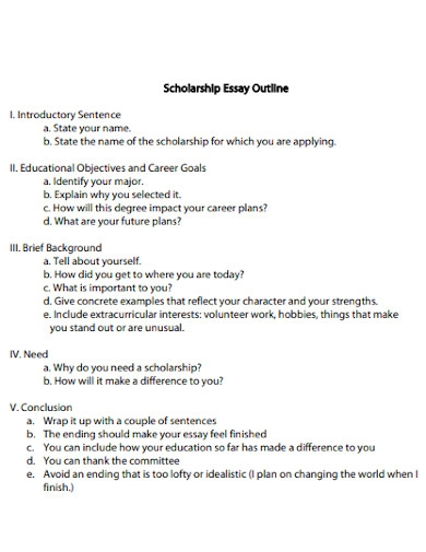 basic scholarship essay outline
