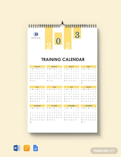 blank training desk calendar template