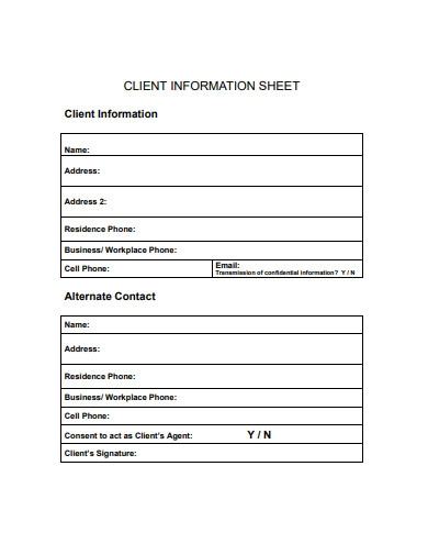 business client information sheet