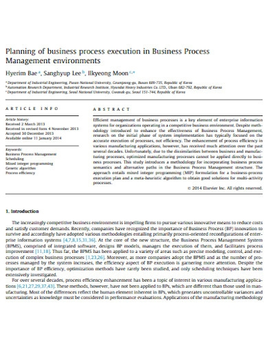 business process execution plan