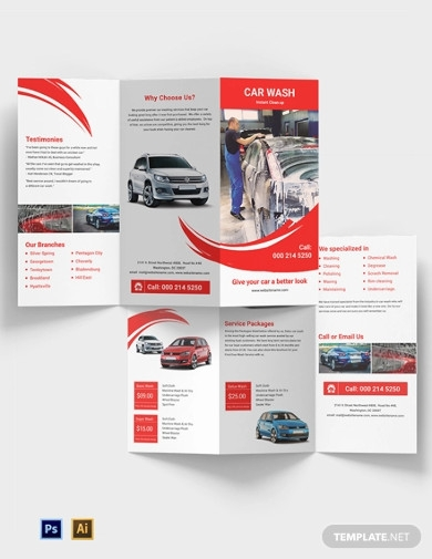 car wash a3 tri fold brochure template