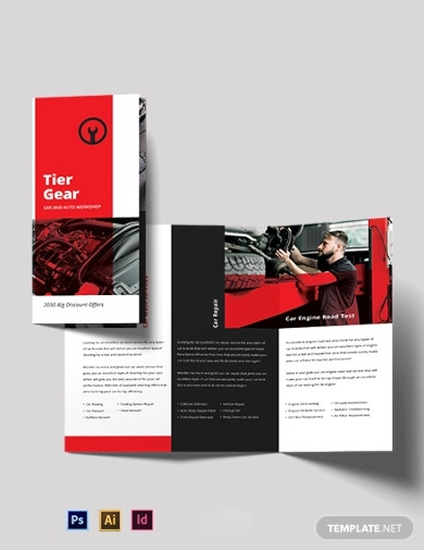 car and automotive workshop tri fold brochure template