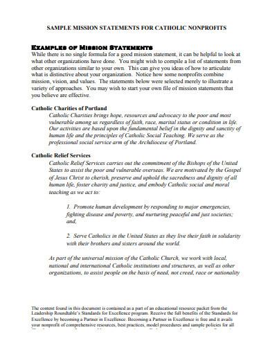 catholic nonprofit mission statement