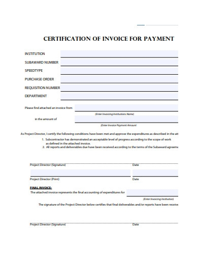 certification of invoice for payment
