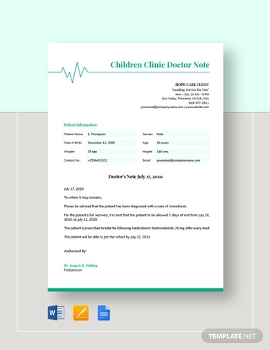 childrens clinic doctors note template