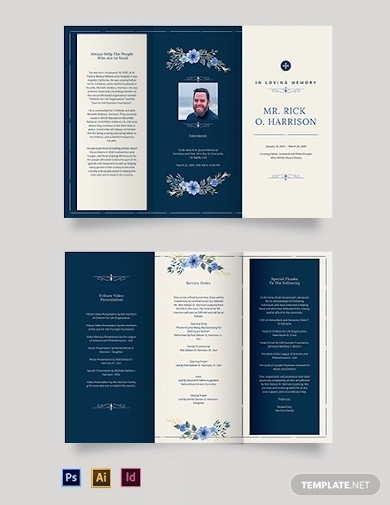 christian funeral memorial tri fold brochure template