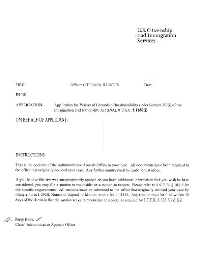 citizenship and immigration letter