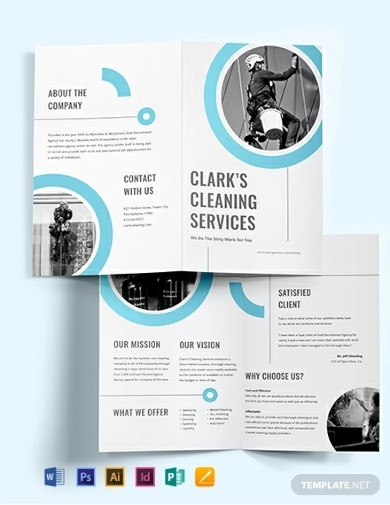 cleaning company bi fold brochure templates