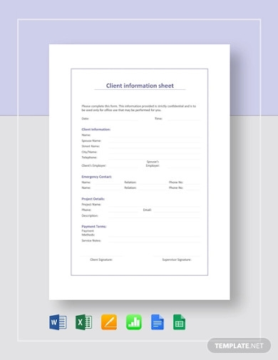 client information sheet example