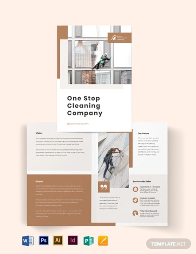 commercial cleaning company bi fold brochure template