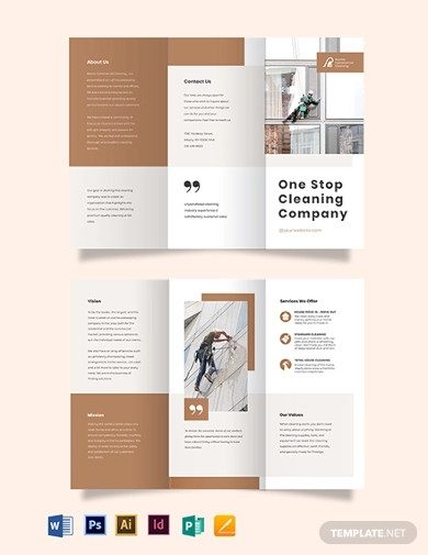 commercial cleaning company tri fold brochure templates