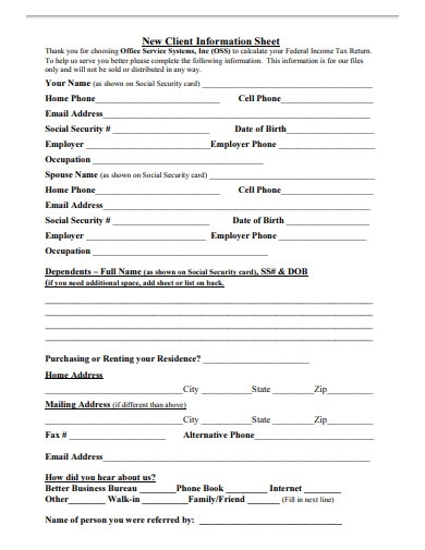 commercial client information sheet