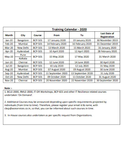 company training calendar