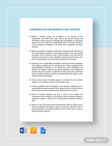 compensation and benefits audit checklist