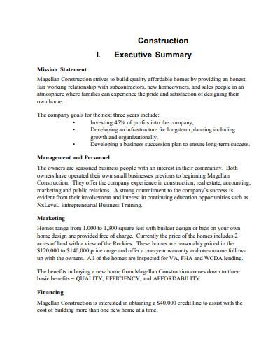 construction management business plans