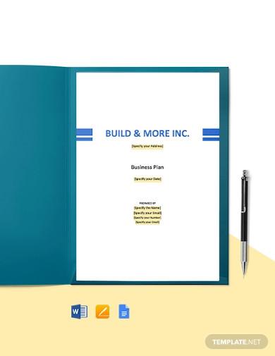 construction manufacturer business plan