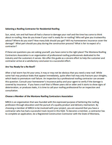 construction roofing contract