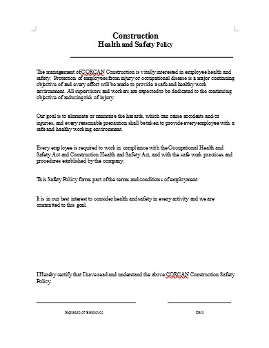 construction safety policy in doc