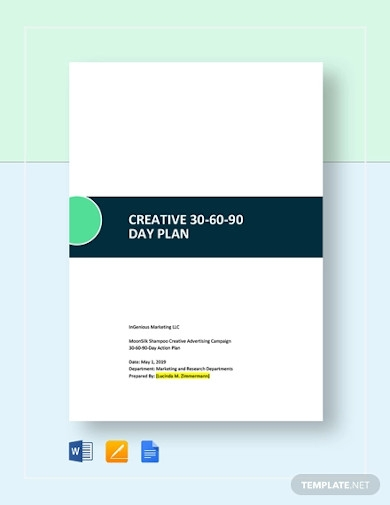 creative 30 60 90 day plan