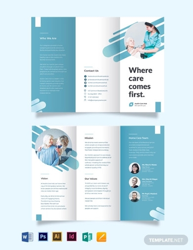 creative home care tri fold brochure template